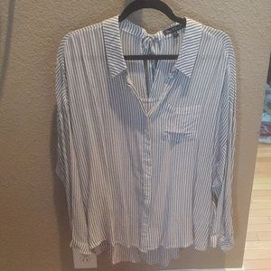 Tops - Gray and white long button down